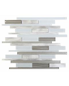 """Ottimo Ceramics - Alumix: White Glass/Aluminum 12""""x12"""" - Blend Mosaic"""