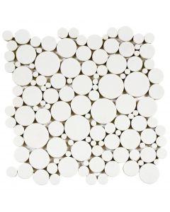 "Reconstituted White Mix 12""x12"" - Round Mosaic"