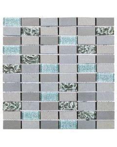 Grey/Silver Glass and Grey Stone Brick - Mixed Mosaic