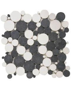 "Mix White/Black Reconstituted 12""x12"" - Round Mosaic"