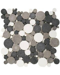 "Mix White/Black/Grey Reconstituted 12""x12"" - Round Mosaic"