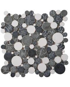 "White Grey Silver Penny 12""x12"" - Round Mosaic"