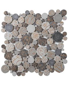 """Taupe Gold Penny 12""""x12"""" - Round Mosaic"""
