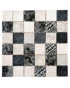 "White/Black Decor 12""x12"" - Mosaic"