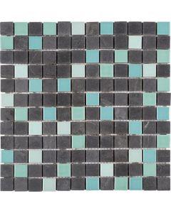 "Black/Stone Turquoise 12""x12"" - Ceramic Mosaic"