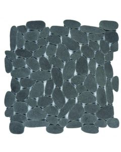 "Reconstituted Black Sliced 12""x12"" - Pebble Mosaic"