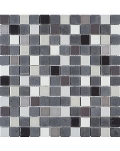 "Black Stone Grey White Ceramic 12""x12"" - Mosaic"
