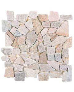 """Beige Quartzite 12""""x12"""" - Interlocking Quartzite Mosaic"""