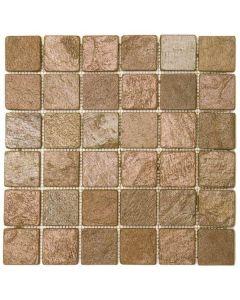"""Copper Matte 12""""x12"""" - Quartzite Mosaic"""