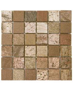 "Copper Polished 12""x12"" - Quartzite Mosaic"