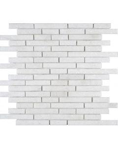 "White Marble Sand Blasted Brick 12""x12 - Brick Mosaic"