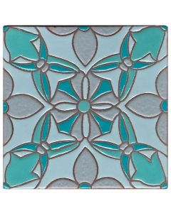 Arto Brick - Handpainted Deco: SD111TEAL- Artillo Tile