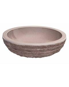 """Taupe Glazed Interior Bowl Shaped Striped Washbasin 5""""x20"""""""