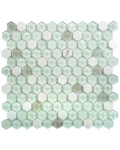 "Glass Marble White Matte & Glossy 12""x12"" - Glass Hexagon Mosaic"