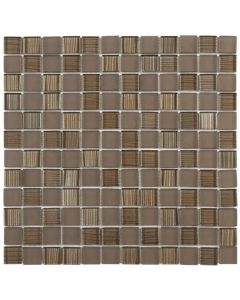 "Brown Mix Polished/Matte 12""x12"" - Glass Mosaic"