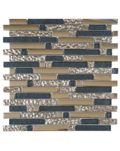 "Grey Glass Polished & Chrome Strip 12""x12"" - Glass Mosaic"