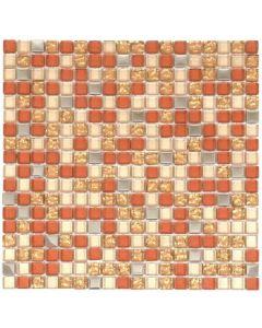 "Beige/Steel/Gold Glossy 12""x12"" - Glass Mosaic"