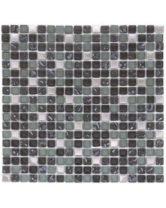 "Mix Steel/Dark Grey Glossy 12""X12"" - Glass Mosaic"
