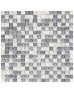 White Marble/Light Grey Glossy - Glass Mosaic