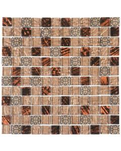 "Brown Decor Mix Marble 12""x12"" - Glass Mosaic"