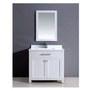 "Dawn® Milan Style Vanity Set 36"" w/ Single Sink & White Marble Top"