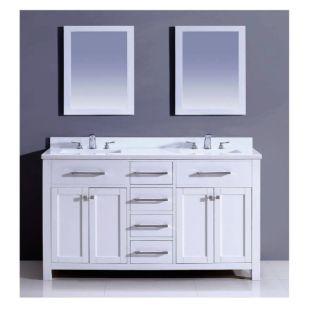 "Dawn® Milan Style Vanity Set 60"" w/ Double Sink & White Marble Top"