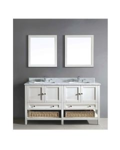 "Dawn® Bohemian Style Vanity Set 60"" w/ Double Sink & Marble Top"