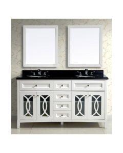"""Dawn® Modern Style Vanity Set 60"""" w/ Double Sink & Black Marble Top"""