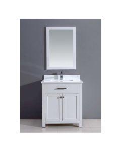 "Dawn® Milan Style Vanity Set 30"" w/ Single Sink & White Marble Top"