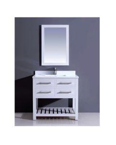 """Dawn® Bohemian Style Vanity Set 36"""" w/ Single Sink & White Quartz Top"""