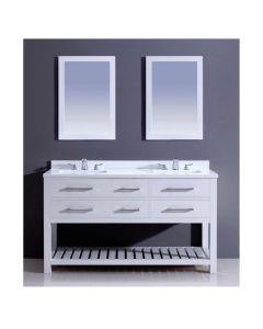 "Dawn® Bohemian Style Vanity Set 60"" w/ Double Sink & White Quartz Top"