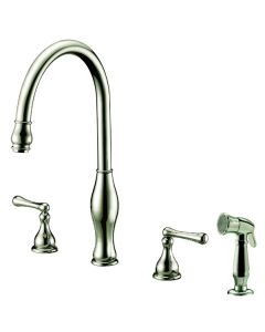 Dawn® 3-Hole, 2-handle widespread kitchen faucet with side spray, Brushed Nickel