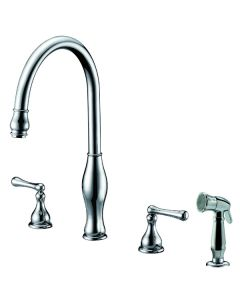 Dawn® 3-Hole, 2-handle widespread kitchen faucet with side spray, Chrome