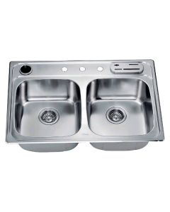 Dawn® Top Mount Equal Double Bowl Sink (Included Accessories: Dawn® Knife Shelf KS322 and Dawn® Utensil Holder UH322)