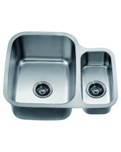 "Dawn® Undermount Double Bowl Sink (25"" x 21"" x 10"") Small Bowl on Right"