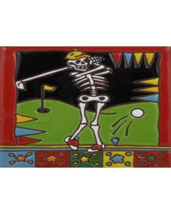 Talavera Tile - Day Of The Dead: Playing Golf
